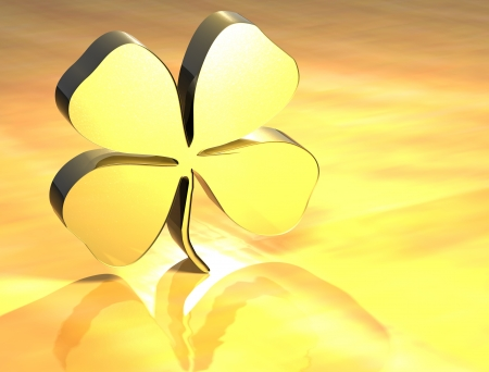 3D Four-leaf Clover Gold Sign over yellow background photo
