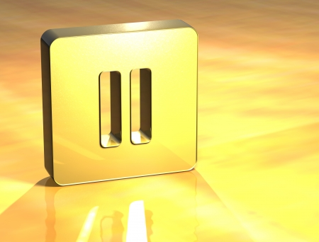 satined: 3D Pausa Gold Sign over yellow background