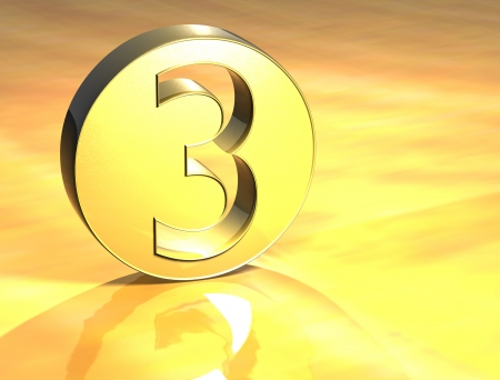 3D Number Gold Sign over yellow background  photo