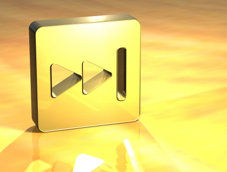 3D Forward Gold Sign over yellow background  photo