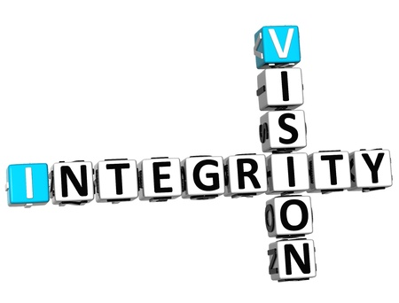 3D Vision Integrity Crossword on white background Stock Photo - 14130092