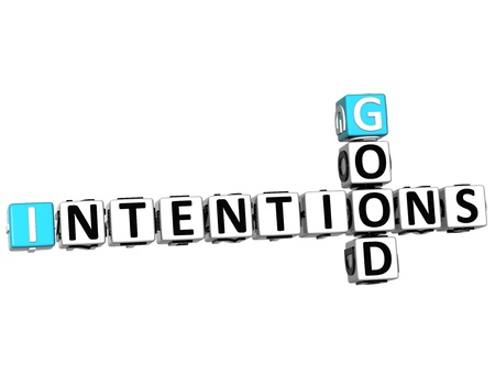 intention: 3D Good Intentions Crossword on white background Stock Photo