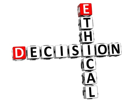 3D Ethical Decision Crossword on white background photo