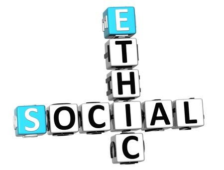 ethic: 3D Crossword Etica Sociale su sfondo bianco Archivio Fotografico