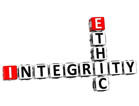 ethic: 3D Ethic Integrity Crossword on white background