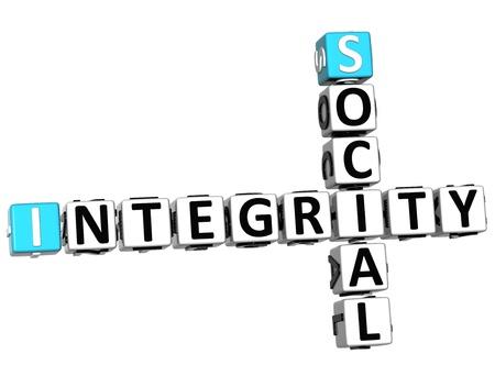 3D Social Integrity Crossword on white background photo