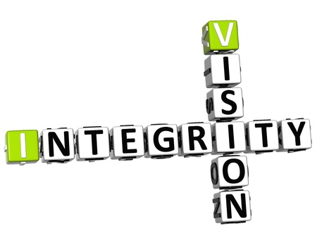 business ethics: 3D Vision Integrity Crossword on white background