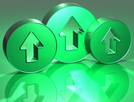 3D Arrows Green Sign over green background Stock Photo - 14130099