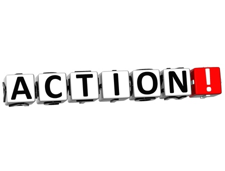 3D Action Button Click Here Block Text over white background Stock Photo - 14130061