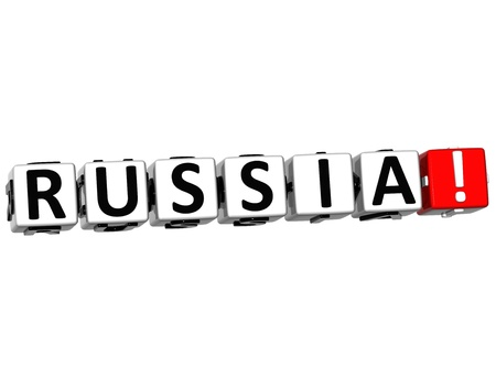 3D Russia Button Click Here Block Text over white background photo