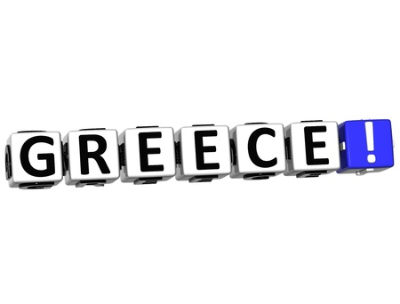 alphabet greek: 3D Greece Button Click Here Block Text over white background Stock Photo