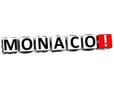 3D Monaco Button Click Here Block Text over white background photo