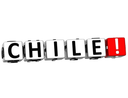 3D Chile Button Click Here Block Text over white background photo