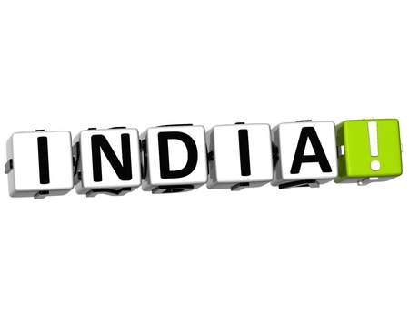 3D India Button Click Here Block Text over white background photo