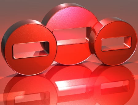 3D Minus Red Sign over red background Stock Photo - 14130098