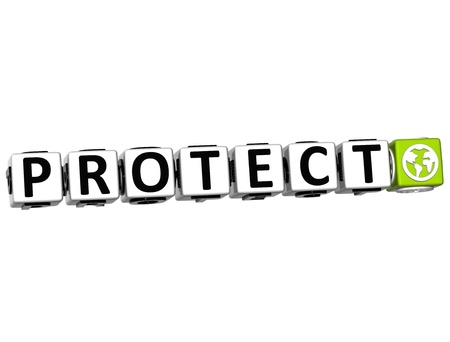 3D Protect Button Click Here Block Text over white background Stock Photo - 14182953