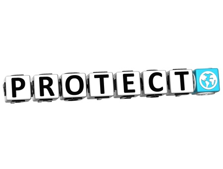 3D Protect Button Click Here Block Text over white background photo