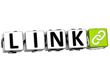 linkage: 3D Link Button Click Here Block Text over white background Stock Photo