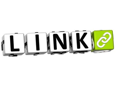 3D-Link Button Klik Hier Blok tekst op witte achtergrond Stockfoto