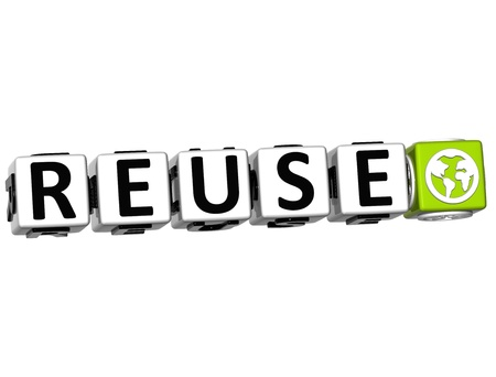 3D Reuse Button Click Here Block Text over white background photo