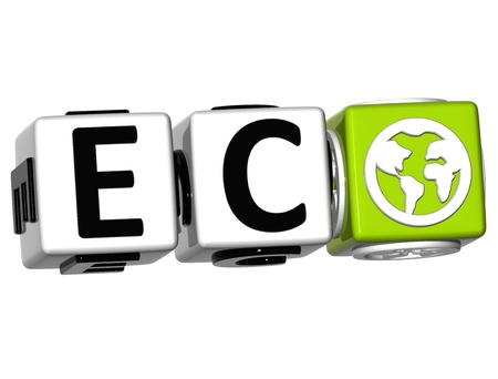 3D Eco Button Click Here Block Text over white background photo
