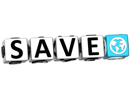 3D Save Button Click Here Block Text over white background photo