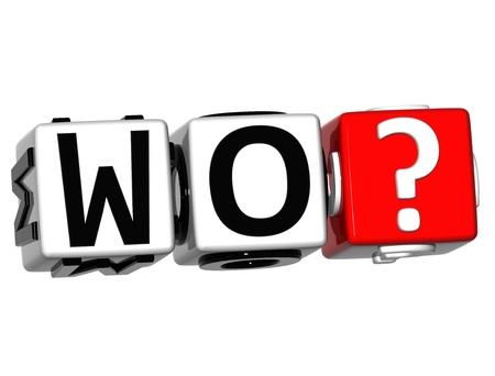 wen: 3D German Question Button Click Here Block Text over white background Stock Photo