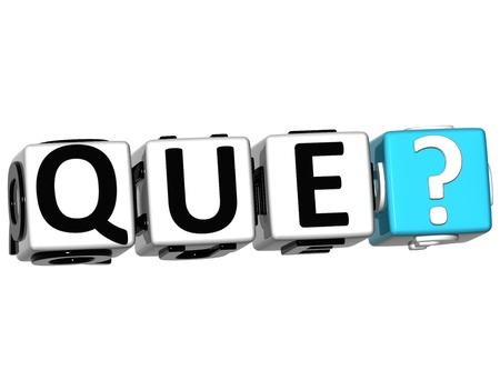 3D Spanish Question Button Click Here Block Text over white background photo