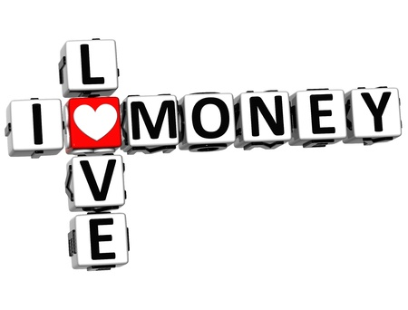 3D I Love Money Crossword on white background photo