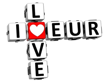 3D I Love EUR Crossword on white background photo