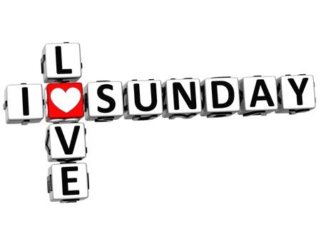 3D I Love Sunday Crossword on white background Stock Photo - 14183741