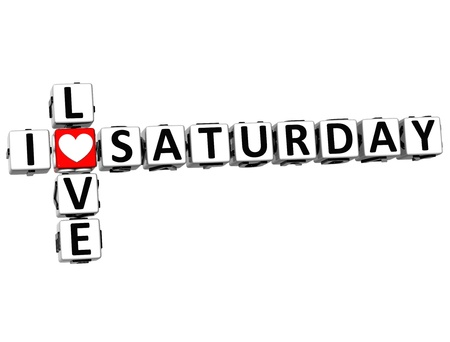 3D I Love Saturday Crossword on white background photo