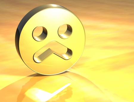 3D Sad Face Gold Sign over yellow background photo