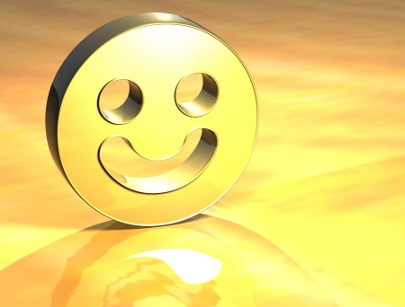 3D Smile Face Gold Sign over yellow background photo