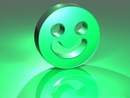 3D Smile Face Green Sign over green background photo