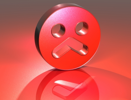 3D Sad Face Red Sign over red background photo