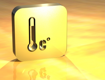 3D Accepted Temperature Gold Sign over yellow background photo