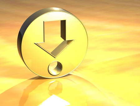 3D Find Point Gold Sign over yellow background photo