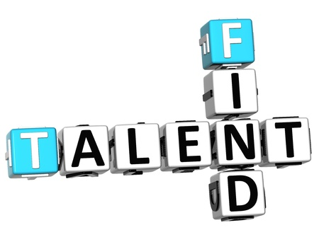 3D Find Talent Crossword on white background