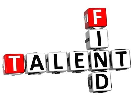 smart goals: 3D Find Talent Crossword on white background