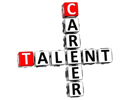 3D Career Talent Crossword on white background photo