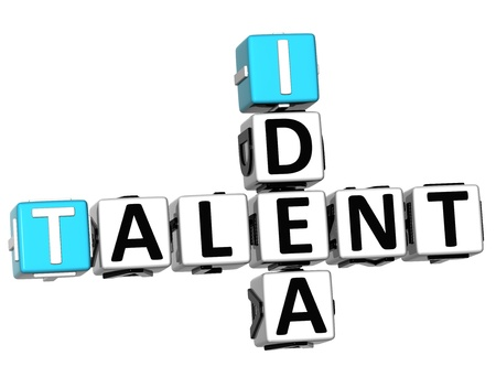 3D Talent Idea Crossword on white background photo