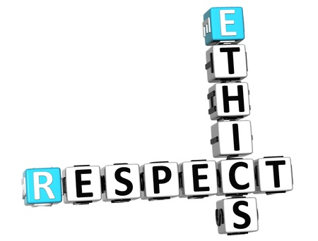 3D Ethics Respect Crossword on white background Stock Photo - 14183802