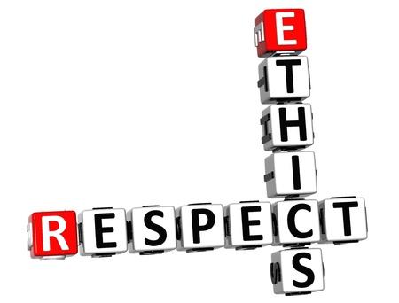 3D Ethics Respect Crossword on white background photo