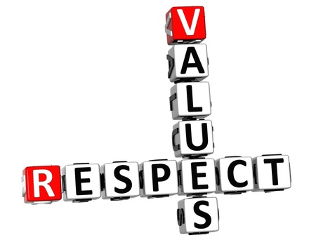 3D Respect Values Crossword on white background photo