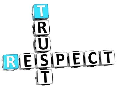 respected: 3D Respect Trust Crossword on white background