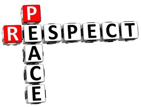3D Respect Peace Crossword on white background Stock Photo - 14183839