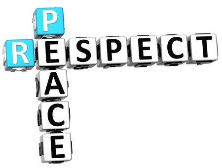 3D Respect Peace Crossword on white background Stock Photo - 14183833