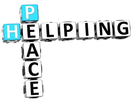 3D Peace Helping Crossword on white background photo