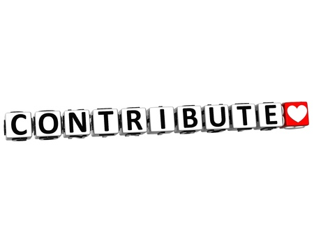 contribuire: 3D Button Contribute Cliccate qui Blocco di testo su sfondo bianco Archivio Fotografico
